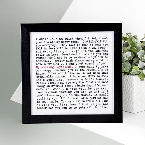 My Amazing Boyfriend Wise Words Print x 3