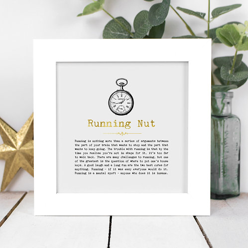 Running Nut Personalised Framed Quotes Print