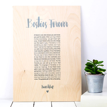 Coulson Macleod Besties Forever Wooden A4 Art Print in Grey - Perfect Wordy Friendship Gift