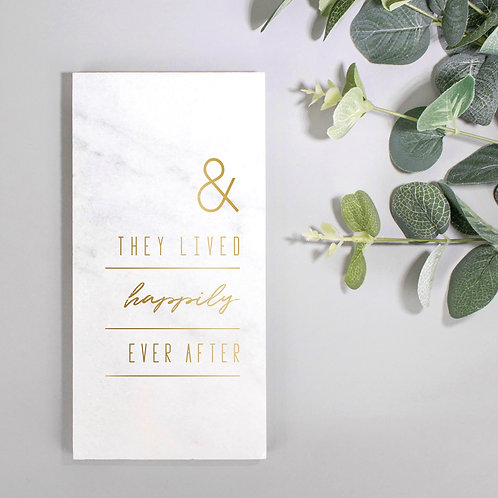 Happily Ever After Gold Marble Wedding Plaque