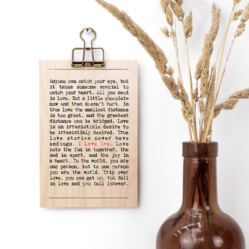 Love Quotes Mini Wooden Sign with Hanger