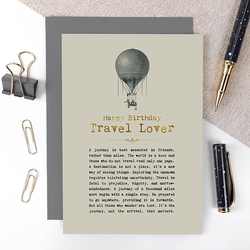 Travel Lover Luxury Foil Birthday Card with Quotes