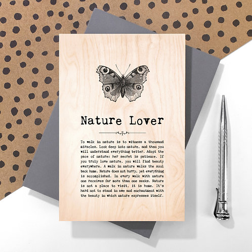 Nature Lover Personalised Wooden Keepsake Card