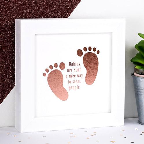 Babies Rose-Gold Foil Framed Print x 3