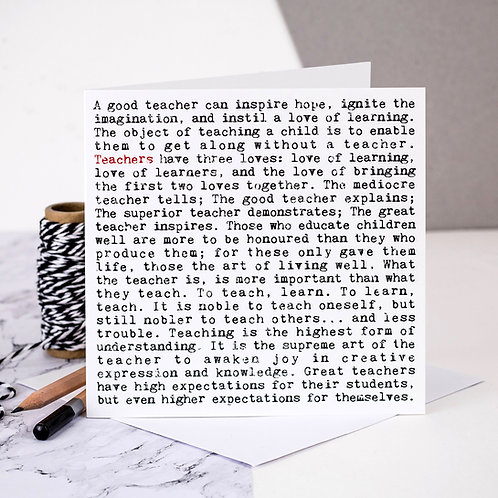 Teachers Wise Words Quotes Card x 6