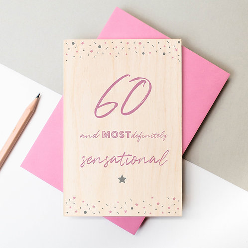 60th Birthday Wooden Plaque Card x 6