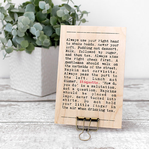Etiquette Wise Words Wooden Plaque with Hanger x 3