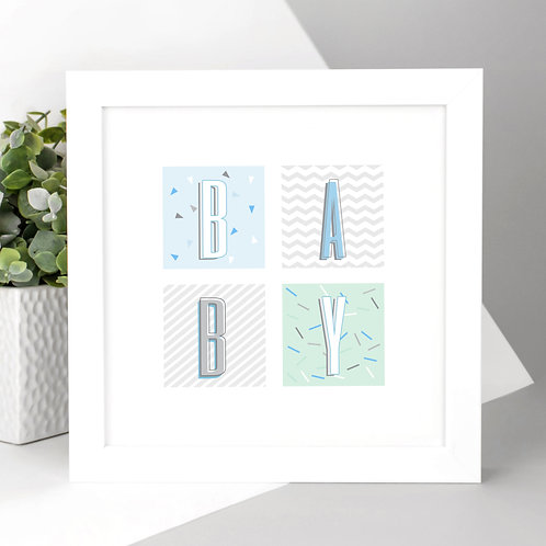 BABY Mint Green and Blue Geo Square Print