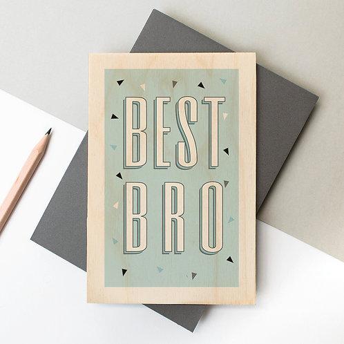 BEST BRO Funky Confetti Wooden Card x 6