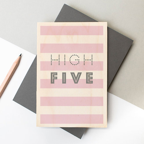 High Five Wooden Congratulations Card