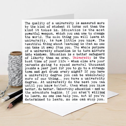University Wise Words Quotes Card x 6