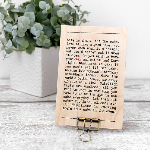 Cake Wise Words Wooden Plaque with Hanger x 3