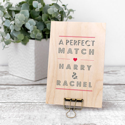 A Perfect Match Personalised Mini Wooden Sign