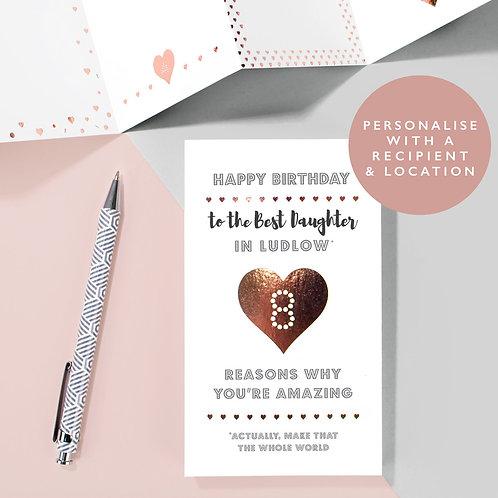 Personalised 8 Reasons Birthday Concertina Card x 6