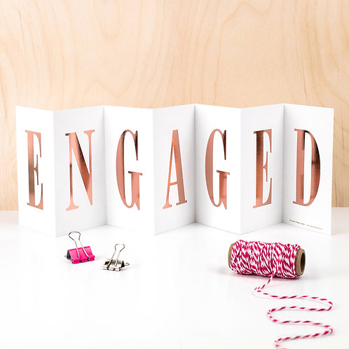 Engagement 'Engaged' Foil Concertina Card