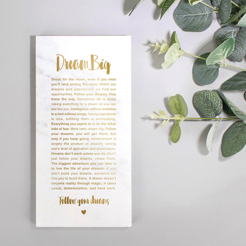 Dream Big Marble Stone Plaque Hand-foiled with Gold Metallic Text