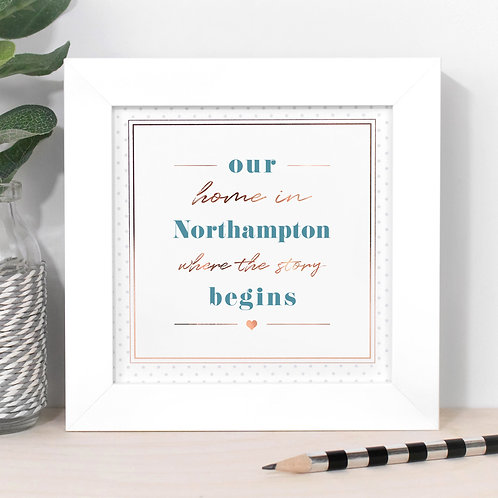 The Story Begins Personalised Dotty Framed Print in Blue x 3