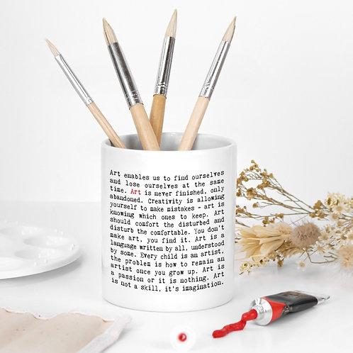 Art Quotes Ceramic Paint Brush Pot