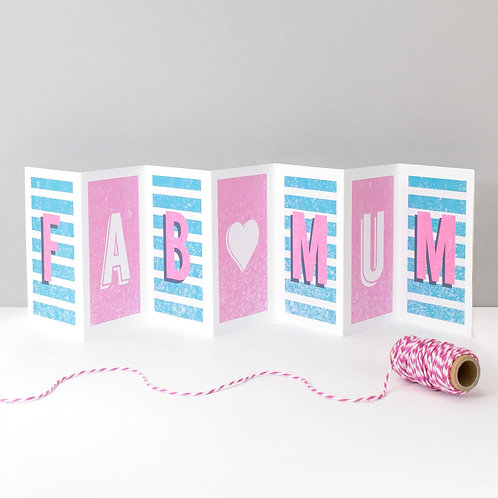 Fab Mum Concertina Card x 6