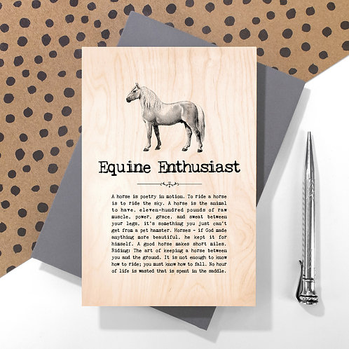 Equine Enthusiast Wooden Keepsake Card for Horse Lovers