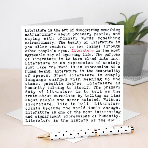 Literature | Wise Words Quotes Card for Book Lovers