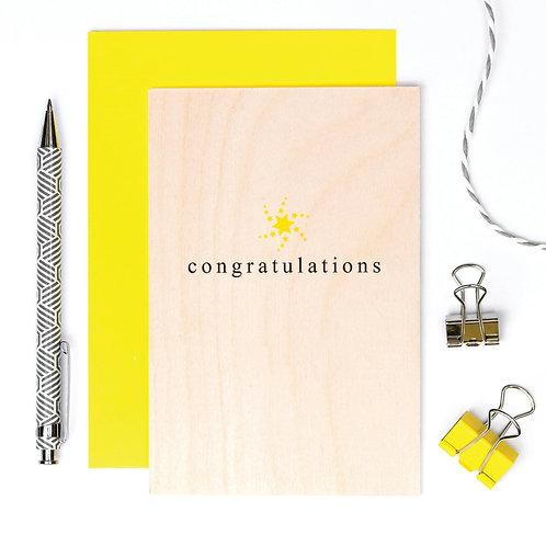 Congratulations Wooden Keepsake Card