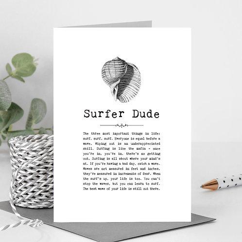 Surfer Dude Vintage Words Greeting Card x 6