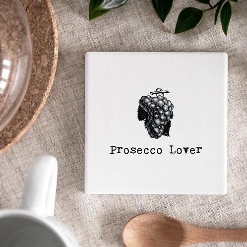 Prosecco Vintage Words Ceramic Coaster x 3