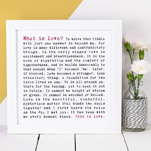 What Is Love? Love Quote Print for Anniversaries