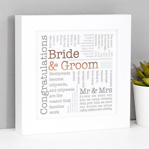 Bride and Groom Word Cloud Framed Wedding Print x 3