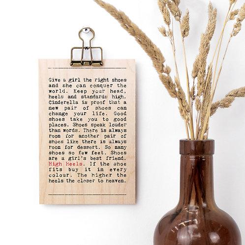 High Heels Wise Words Wooden Plaque with Hanger x 3