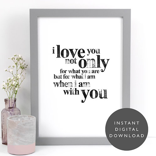 I Love You Slogan A4 Printable Wall Art [DOWNLOAD ONLY]
