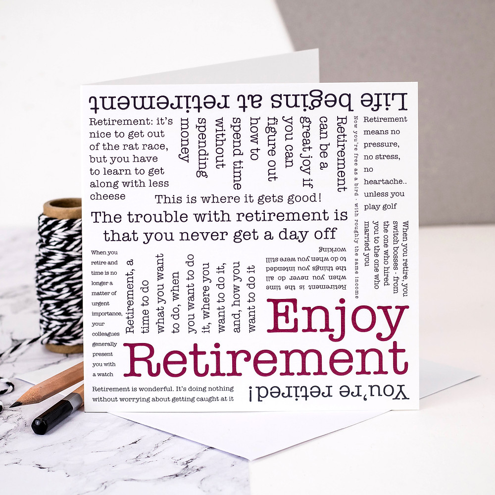 Enjoy Retirement Word Cloud Greeting Card by Coulson Macleod