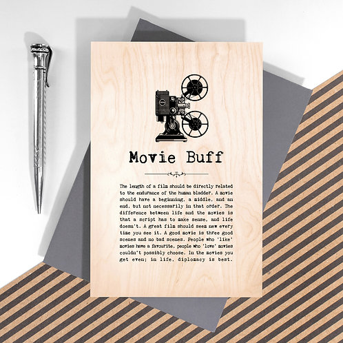 Movie Buff Personalised Wooden Keepsake Card