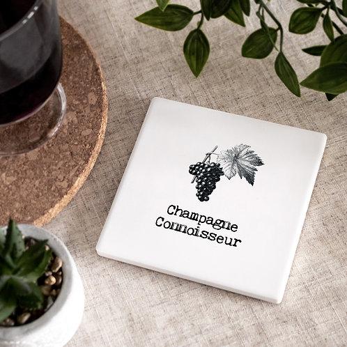 Champagne Vintage Words Ceramic Coaster x 3