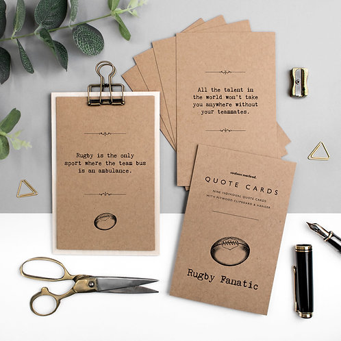 Rugby Quote Cards with Wooden Clipboard