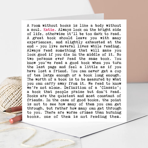 Book Lover Wise Words Quotes Card
