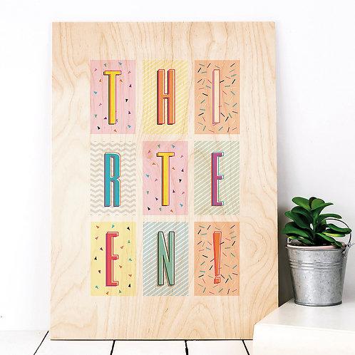 Thirteen! Funky Confetti A4 Wooden Print x 3