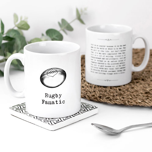 Rugby Fanatic Sports Themed Quotes Mug