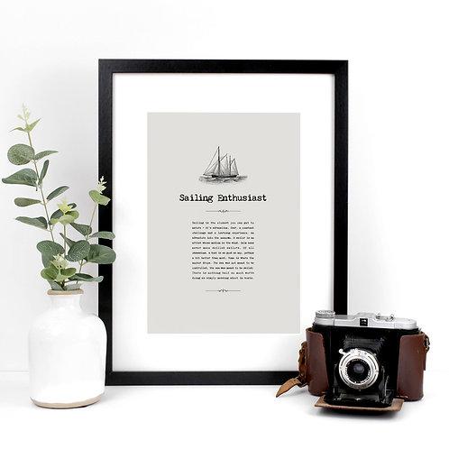 Sailing Vintage Grey A4 Quotes Print x 3