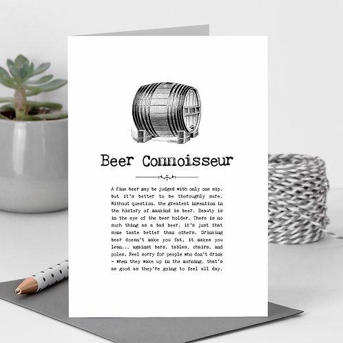 Beer Connoisseur Vintage Words Greeting Card x 6