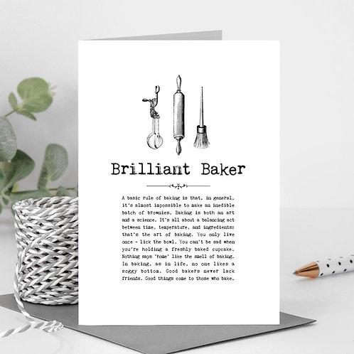 Brilliant Baker Vintage Words Greeting Card x6