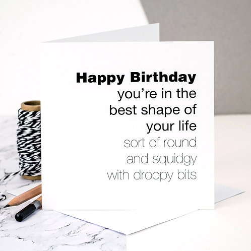 Funny Birthday Card | Best Shape x 6