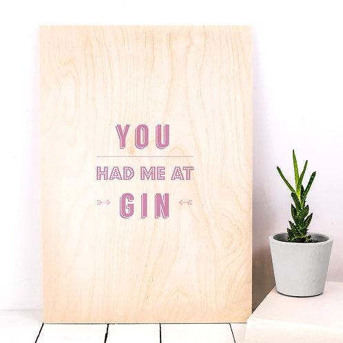 Pink Gin A4 Wooden Print x 3