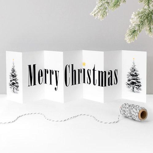 Merry Christmas Scandi Tree Concertina Card x 6