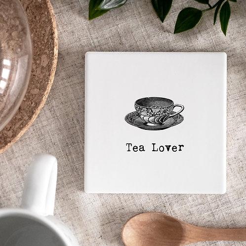 Tea Vintage Words Ceramic Coaster x 3