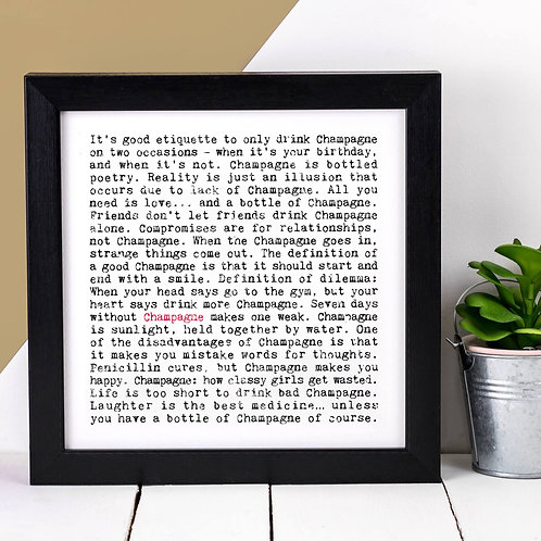 Champagne Wise Words Quotes Print