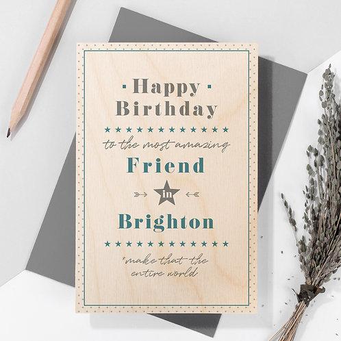 Birthday Personalised Wooden Keepsake Card in Blue x 6