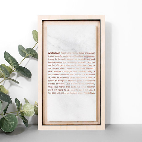 Rose Gold What is Love? Poem Print on Marble Stone