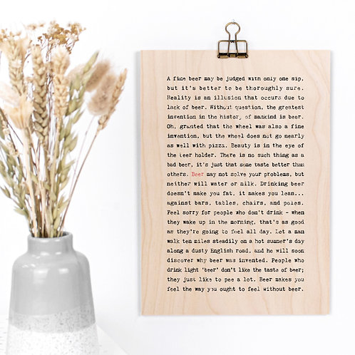 Wise Words FOOD & DRINK A4 Wooden Plaques x 3